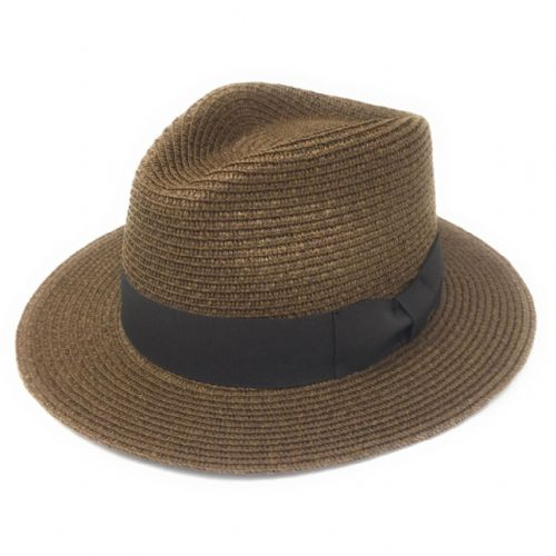 Straw Fedora Summer Hat - Brown